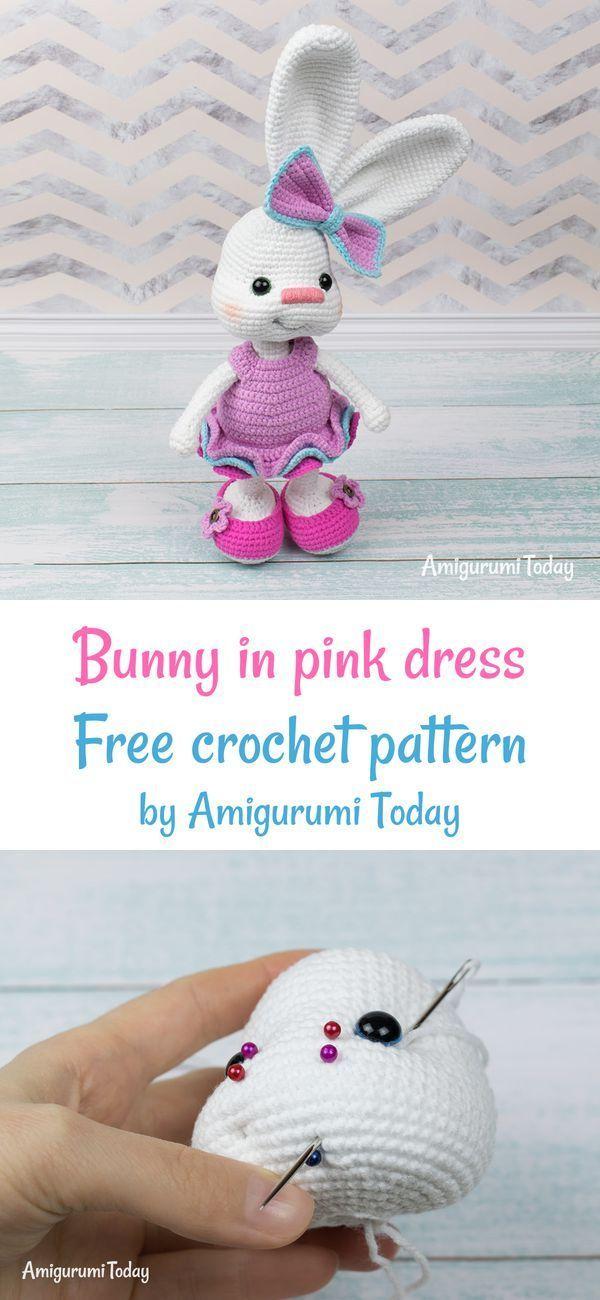 Pretty Bunny amigurumi in pink dress | Easter crochet, Crochet ... | 1300x600