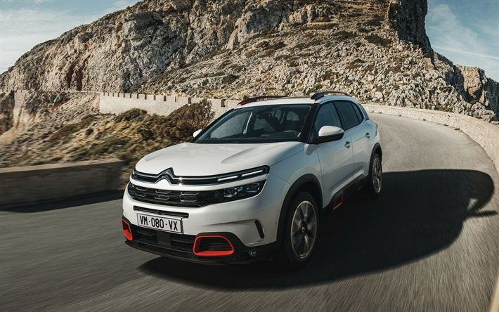 Download Wallpapers Citroen C5 Aircross 2018 Front View Compact New Crossover Exterior New White C5 Aircross French New Ca Citroen Car Citroen C5 Citroen