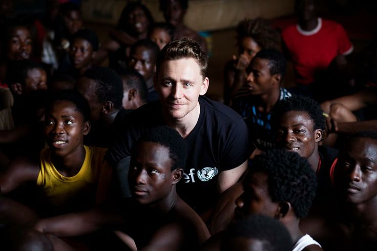 Tom Hiddleston at Projet Tinafan, Conakry. This is the talented actor who played Loki in the Thor movie.  I'm sure the folks in Conakry loved him.