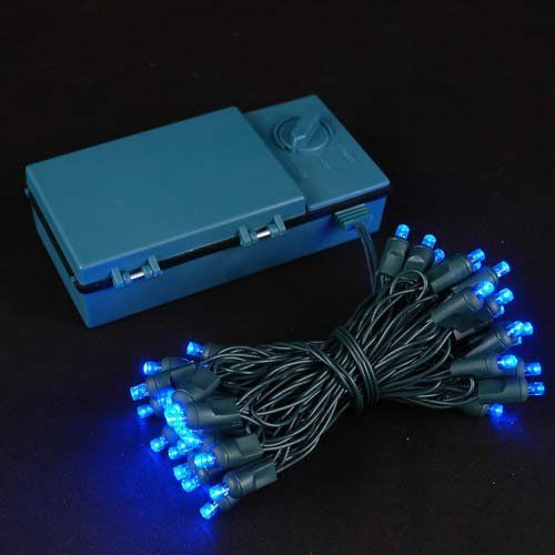 Novelty Lights, Inc. BAT50 LED Battery Operated Christmas Mini Light String Set, Blue, Green Wire, 50 Light, 18' Long -- Learn more by visiting the image link.