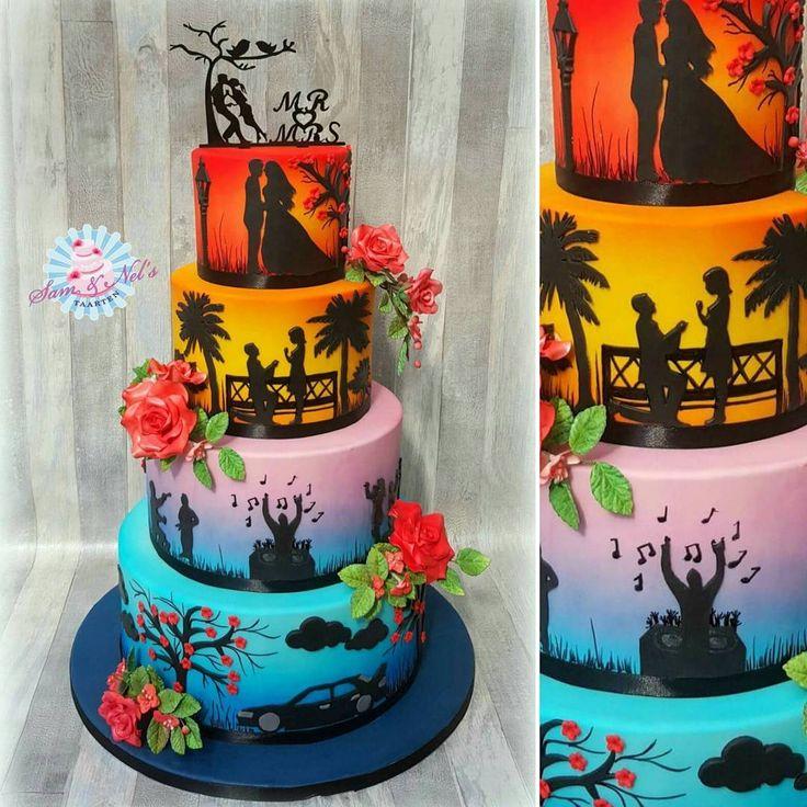 Hans en Paulien zijn getrouwd in Westhem (Friesland). Deze taart hebben we gebracht naar een prachtige locatie: Pollepleats  Voor Hans en Paulien veel kleur met hun leven in de taart verwerkt. Zijn auto, hun klushuis, muziek, de aanzoek in het buitenland en hun trouwdag.  De taart is gevuld met: Mango/abrikoos – kiwi/kruisbes – framboos.  #samennelstaarten #weddingcakes #bruidstaarten #bruidstaart #tpwbruiloft #married #thebestdayever #trouwen #love #weddingcake #weddingfun #cake…