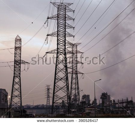 high voltage towards with energy plant in industrial area