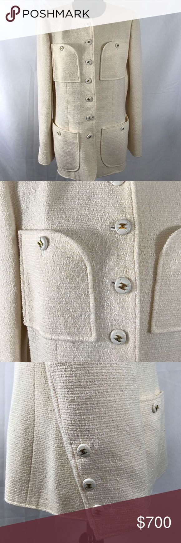 Mint condition CHANEL BOUTIQUE Jacket This French made original is FR 44/ US 12 or Medium/Large.  The fabric is made of 58% Wool, 27% Cotton, and 15% Nylon.  The lining is 100% Silk.  All the buttons are so craftfully designed.  And I love the four pockets on this jacket.  It is a cream color. CHANEL Jackets & Coats