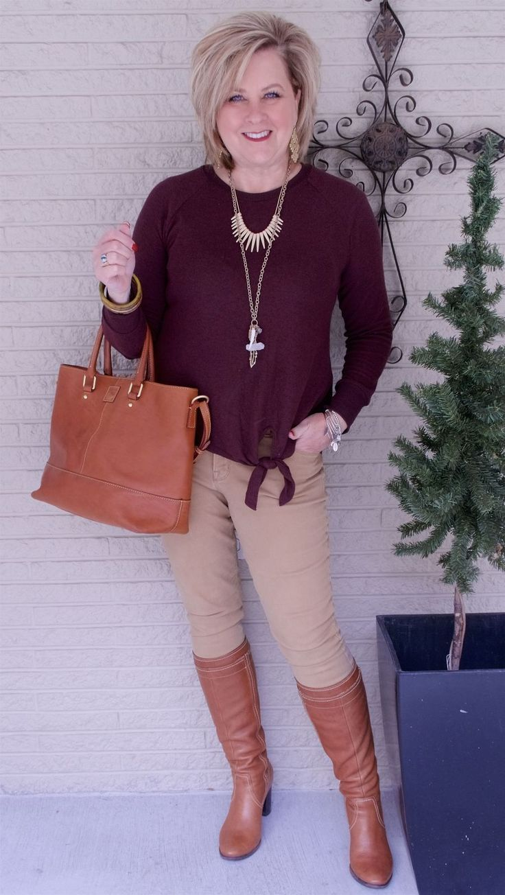 50 IS NOT OLD   COZY AND RELAXED   Casual   Tie-Front   Sweater and Jeans   Fashion over 40 for the everyday woman #women'sfashionover40