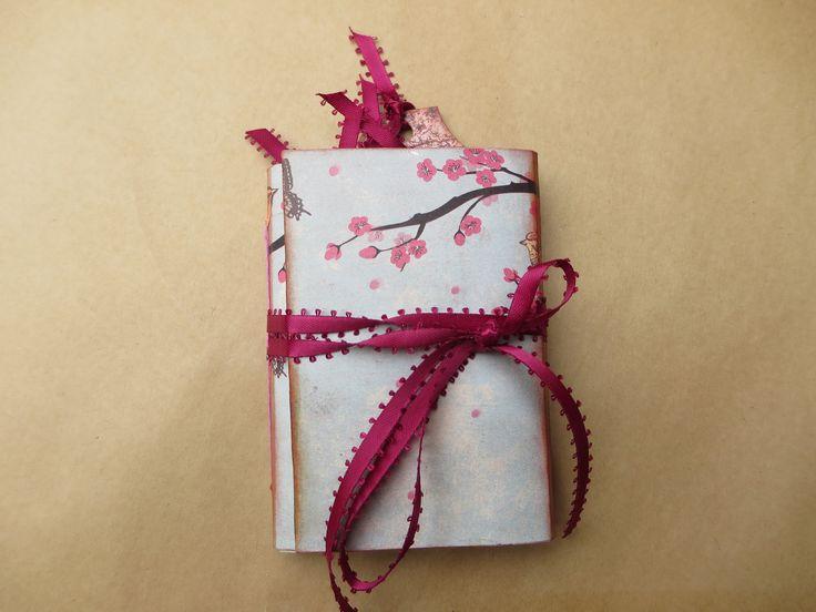 Cherry Blossom Festival Mini Handmade Junk Journal/Springtime/Notebook/Art/Memory/Dream/Planner/Scrapbook/Travel/Gratitude Journal by Maroonmanx on Etsy #cherryblossom #spring #celebrate #japanese #handmade #journal #gifts
