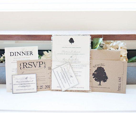 Rustic Burlap Wedding Invitation Pocket 5x7 by TheLovelyGlassJar, $2.50