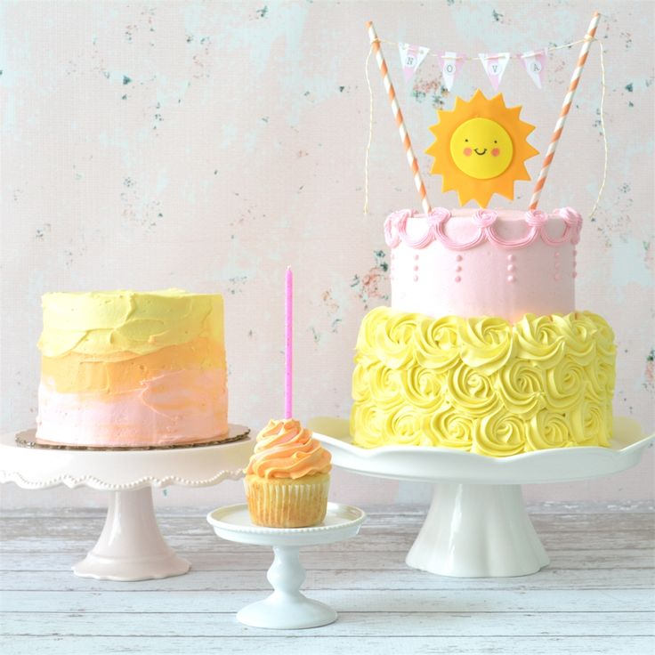 "I've made quite a few first birthday cakes, but this one might be one of my favorites.  The theme was ""You Are My Sunshine"" with s..."