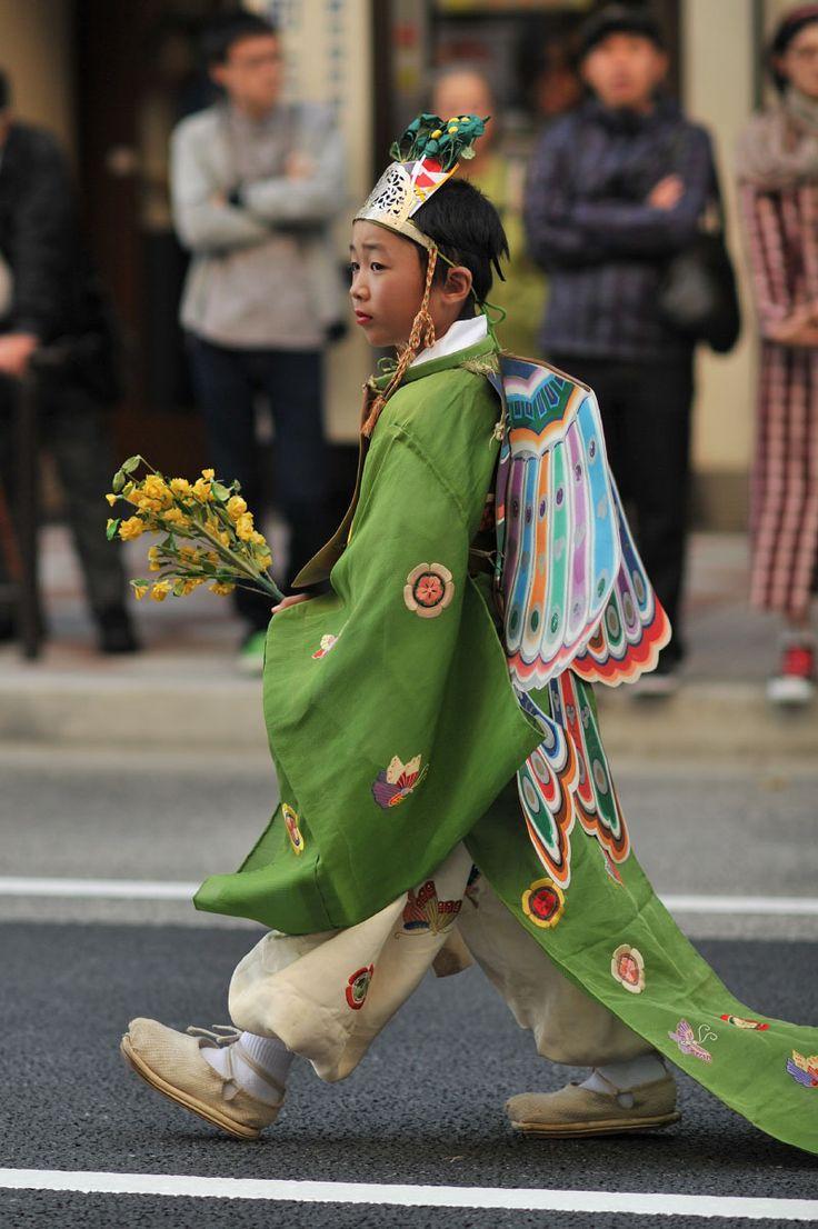 A boy in Japanese ancient ceremonial costume - Jidai Matsuri Festival, Kyoto
