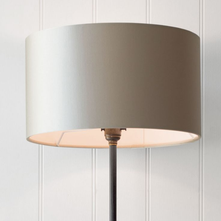 WIDE CYLINDER SHADE  IN PALE SMOKE SATIN