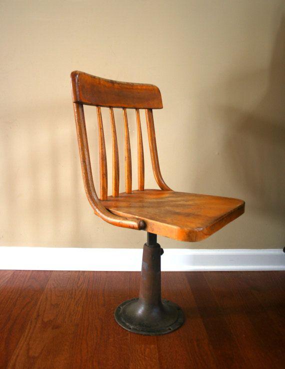 Antique Wood School Chair 1890s Childs Desk Chair by RhapsodyAttic