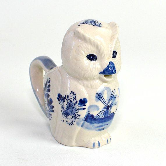 Delft Blauw Style Dutch Owl Creamer