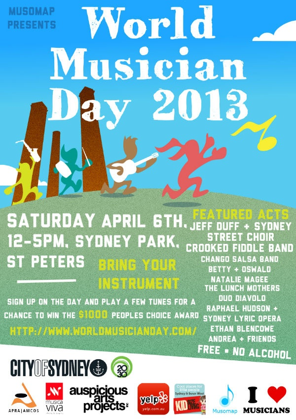 World Musician Day  April 6th, 2013 12-5pm (Saturday)  @ Sydney Park, St Peters NSW
