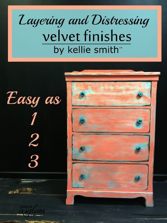 Layering and distressing with Velvet Finishes furniture paint is super easy! Fol...