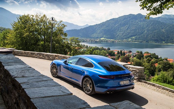 Download wallpapers Porsche Panamera, 2017, new Panamera, blue, sporty 4 door coupe, German cars, Porsche