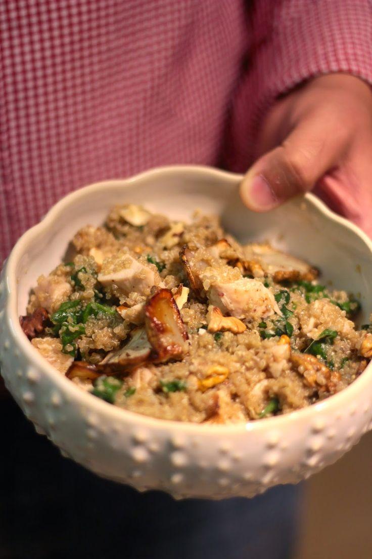 As Minhas Receitas: Salada de Quinoa com Espinafres, Nozes, Frango e Alcachofras de Jerusalém