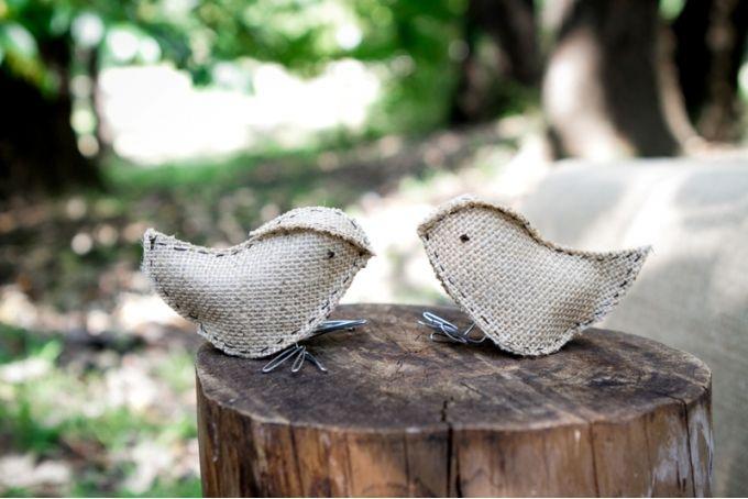 {Wedding} Set of Burlap love birds by Lovilee