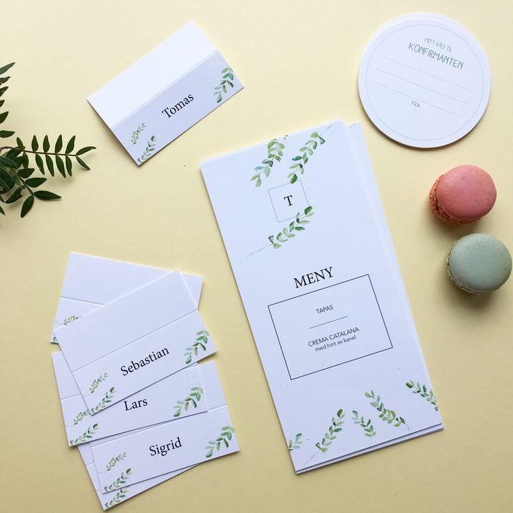 Til konfirmasjon. Bordkort og meny i design 'Spirer' // ELM DESIGNKOLLEKTIV 2017