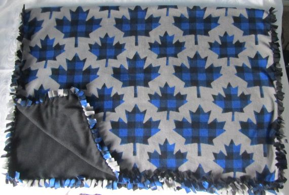 Large and cozy Blue plaid maple leaf fleece tie by BriersBlankets