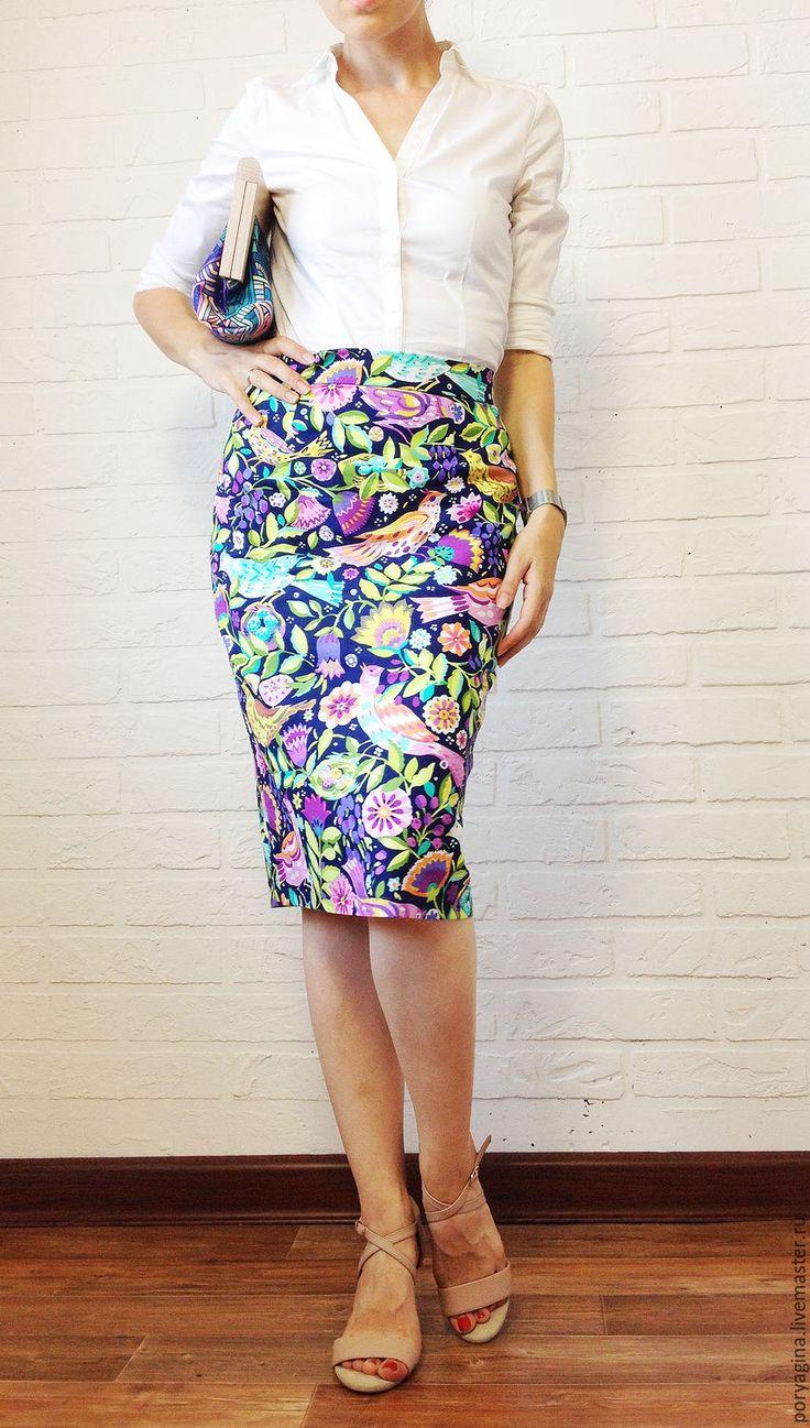 """Colorful skirt / Купить Юбка-карандаш """"Фиолетовые птички"""" - фиолетовый, рисунок, птички, птички на ветке, юбка летняя"""