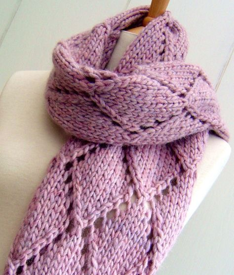 Knitting A Scarf Quickly : Knitting pattern for easy diamond lace scarf quick knit