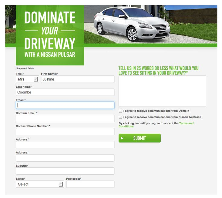 Nissan - Sign up competition page