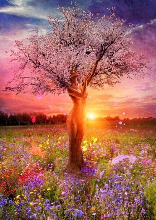 I love the fantasy element in this and how the woman's figure blends in as the tree trunk, this is beautiful, soft and feminine