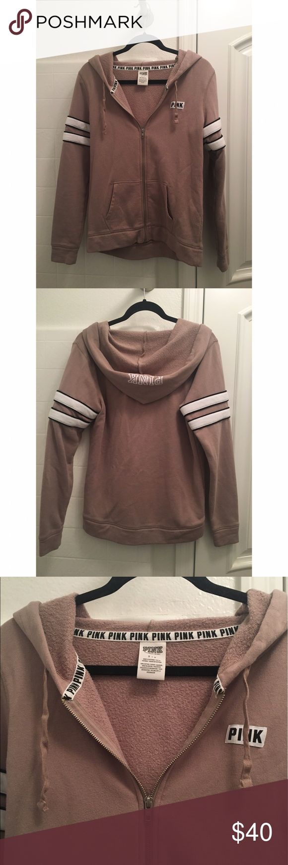 PINK Tan Zip Up Tan and white striped zip up hoodie from PINK. In brand new condition, worn only a handful of times. No pilling, stains, or rips. Cute tan color that goes with everything! Comfy soft lining as well. Has the PINK logo on the hood and two stripes on each arm. ***Size small, fits a bit oversized!*** NO TRADES. PINK Victoria's Secret Sweaters