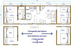 12X32 Cabin Floor Plans two bedrooms | click floor plan for a larger image )