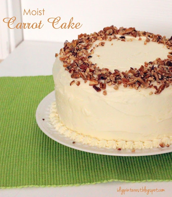 Moist Carrot Cake recipe from I Dig Pinterest and I Did it Too!