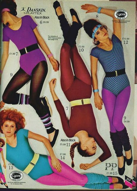 80s Workout Fashion Catalogue - leotards, leg warmers, big belts, headbands...