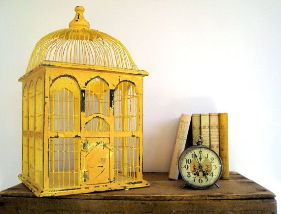 Vintage Birdcage Wood and Wicker Yellow by BirdinHandVTG on Etsy, $78.00