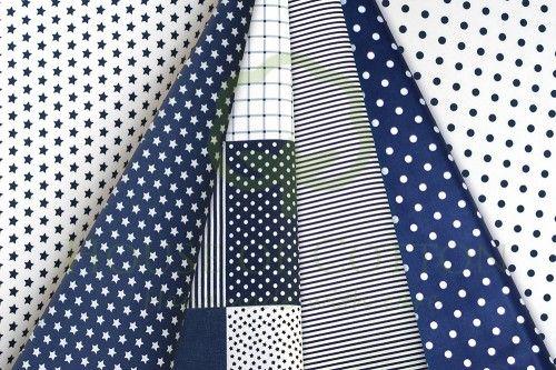 Navy blue marine patchwork cotton fabric set / Zestaw patchworkowy granatowy