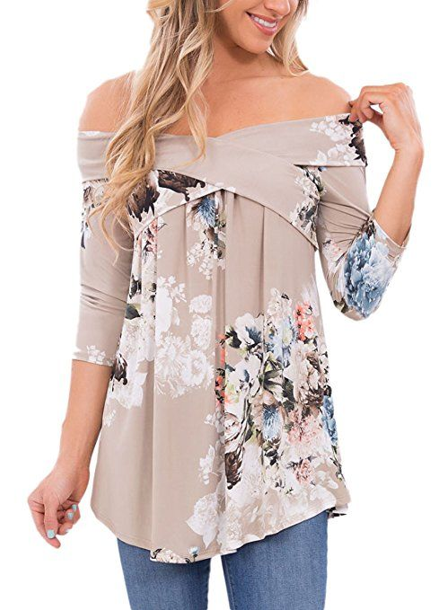 Dokotoo Womens Summer Casual Off Shoulder 3 4 Long Sleeve Floral Print Blouses Tops