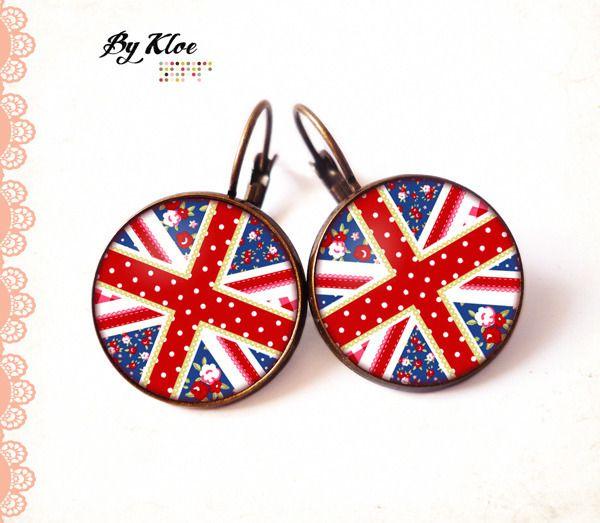 Boucles d'oreille Cabochons • Drapeau anglais • perles liberty fleurs blanc rouge bleu verre
