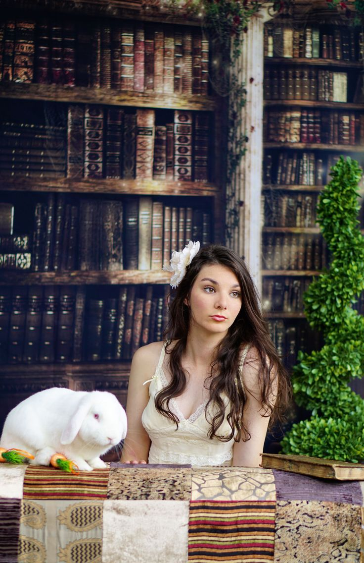 Library Backdrop Photoshoot with white rabbit