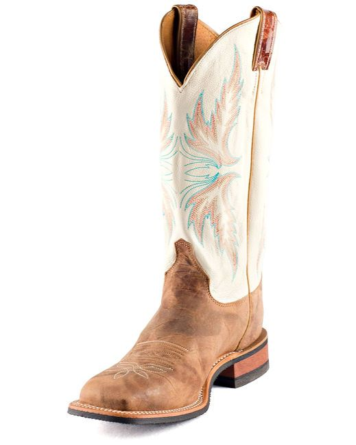Tan cowhide boots + corral and turquoise accents! | http://www.countryoutfitter.com/products/20224-womens-tan-puma-cowhide-boot-brl336