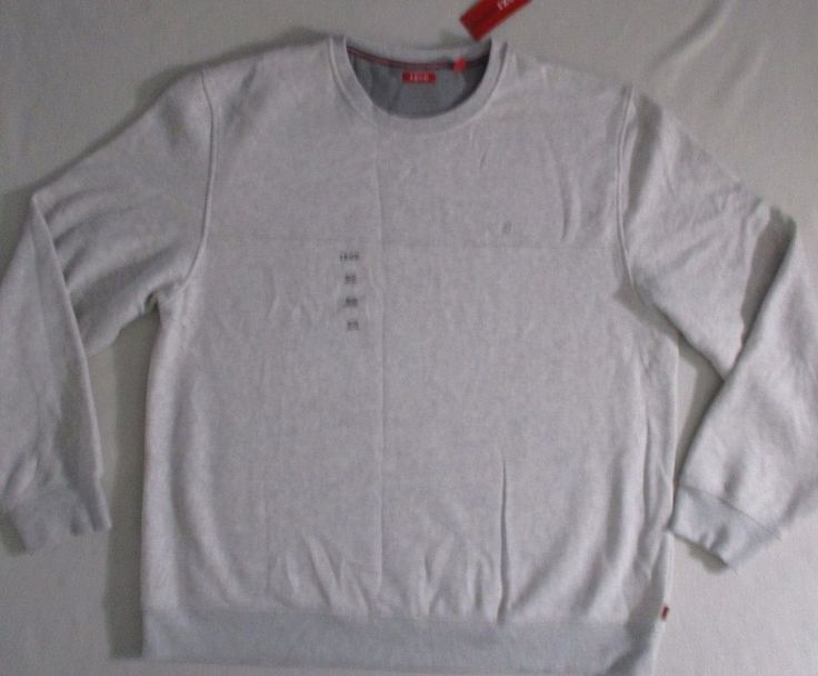 IZOD Men Sweatshirt  2XL Gray Solid  Fleece Cotton Polyester 17700C #IZOD #FleeceTops
