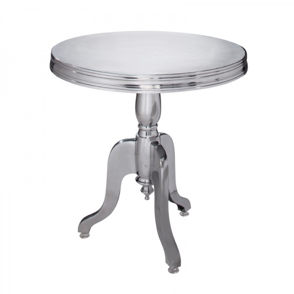 Barbados table by cort events silver metal occasional table with decorative pedestal base in the