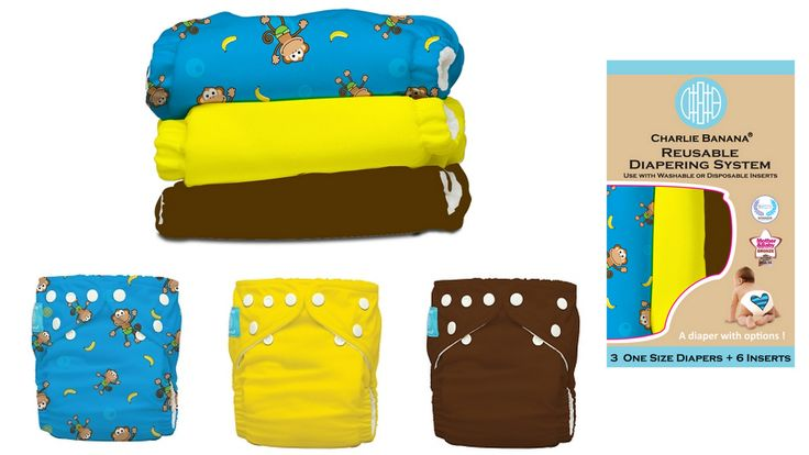 Charlie Banana Monkey Doo - set economic de scutece textile http://kiddyshop.ro/index.php?route=product/product&path=42_47&product_id=679