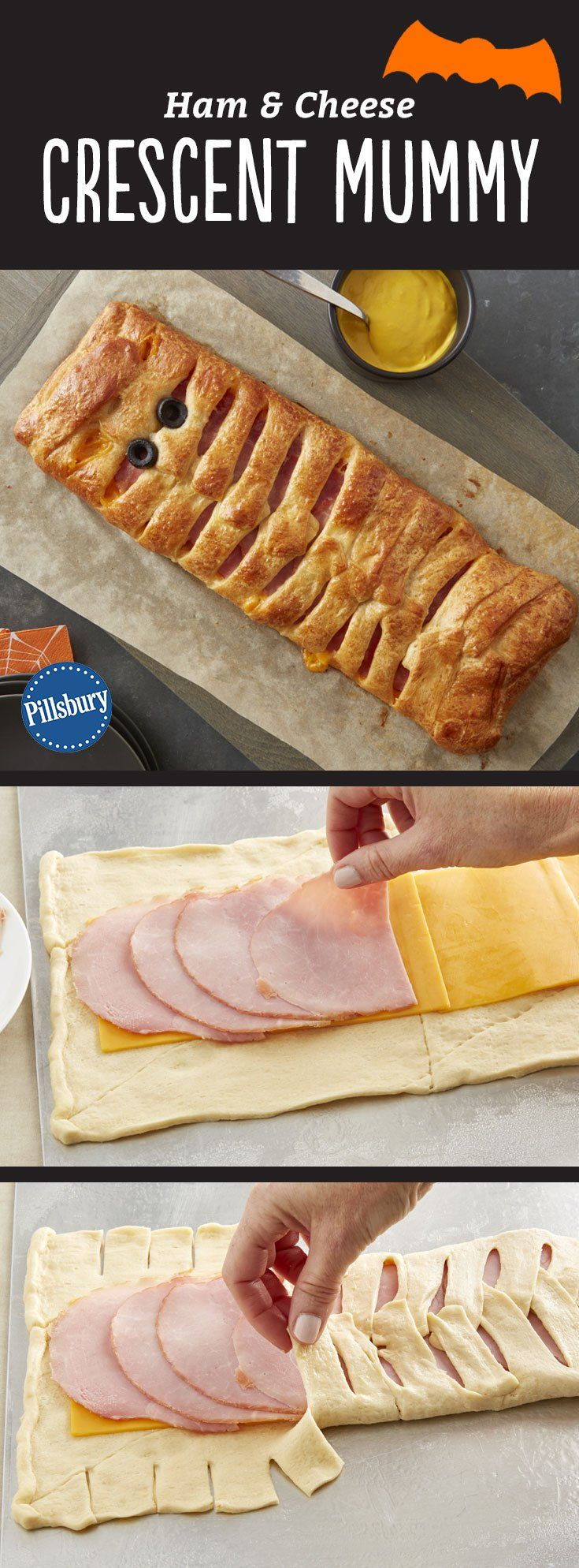 Take the spook out of deciding what's for Halloween dinner with this simple ham and cheese crescent mummy! To make all of your trick-or-treaters happy, you can swap cheese and meat for your own favorite combination, such as Swiss and turkey, or pepper Jack and chicken.