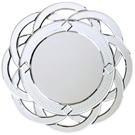 "Intersecting Rings Frameless Round 20"" Wide Wall Mirror -"