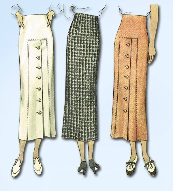 1930s Vintage Misses Slender Skirt 1935 McCall VTG Sewing Pattern Size 30 Waist #McCallPattern #SkirtPattern