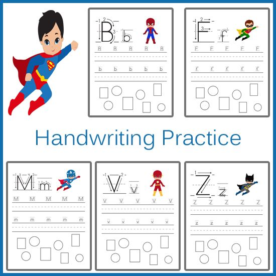 Superhero Handwriting Practice Sheets.