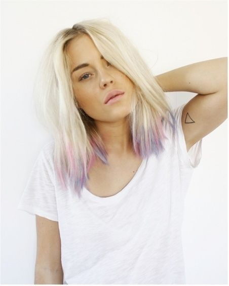 I kind of like the idea of just a bit of color on the tips, though preferably with the main part less dry/bleached looking than here. And then you could just cut off the color and damaged hair when you got sick of it!