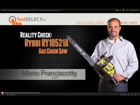 RYOBI 20 in. 46 CC Gas Chainsaw RY10521A - Real User Review & How To    http://www.toolselect.com/product/detail/Ryobi-RY10521A