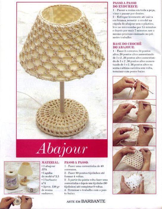 Pantalla de lámpara forrada de ganchillo. Patrones de Crochet.