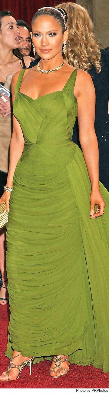 Jennifer Lopez Wearing Rita Watnick Vintage Green Dress - 2006 Oscars – 3/5/2006
