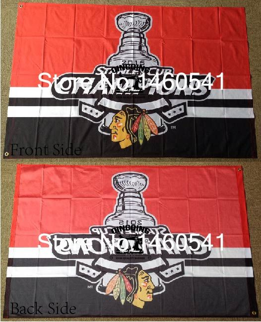 Chicago Blackhawks Stanley Cup Champions 2015 Flag 3ft x 5ft Polyester NHL Banner Flying Size No.4 144* 96cm QingQing Flag