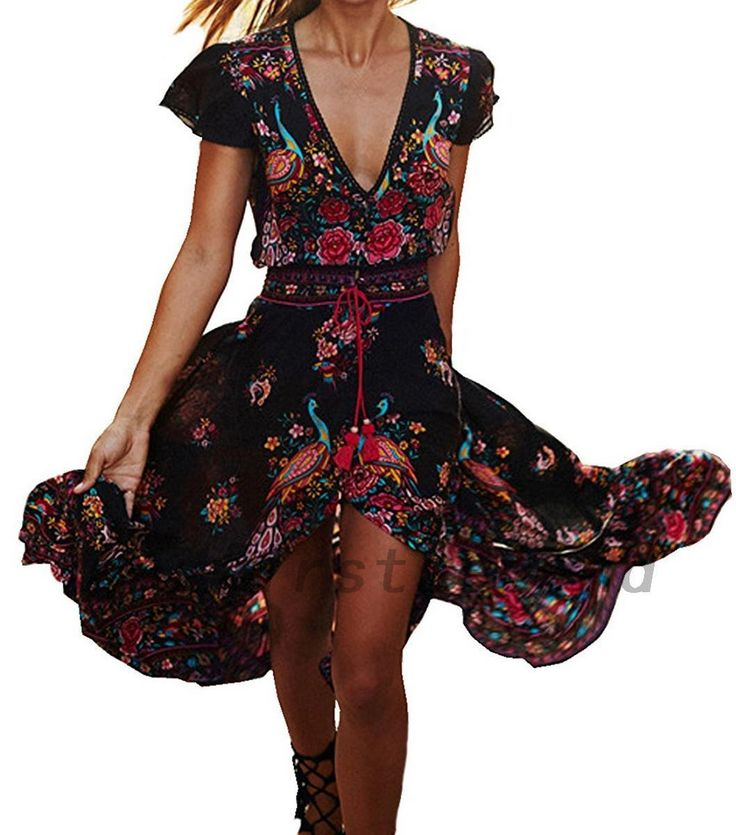 Gorgeous Floral Chiffon V-Neck Summer Beach Cocktail Prom Party High Low Dress