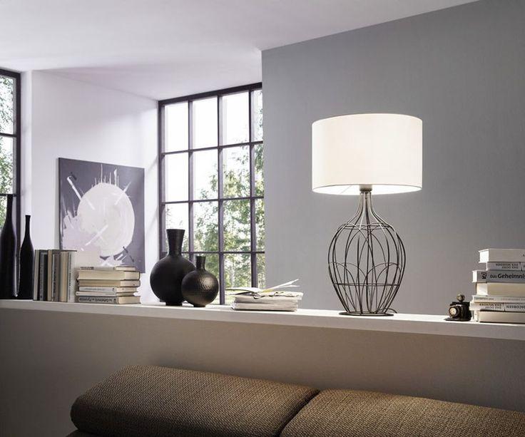 Landelijke, Brocant, Moderne, Stoffen, Zwarte, Witte tafellamp Leyna op Lampgigant. ✓ Snel gratis bezorgd ✓ Veilig online bestellen ✓ Ook voor bedrijven!